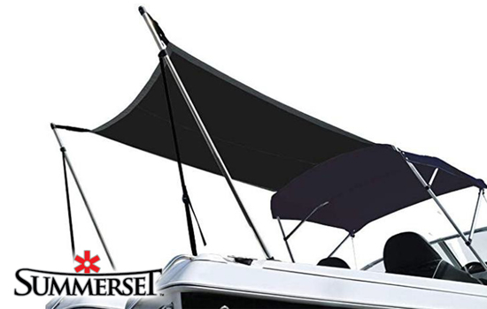Rear support poles are height adjustable to match height of bimini frame.