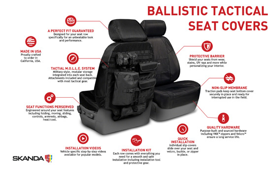 ballistic tactical custom seat covers features