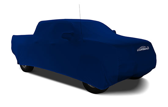 satin stretch impact blue custom truck cover