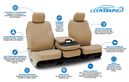 genuine leather custom seat covers features
