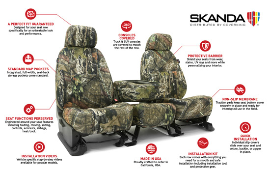 mossy oak custom seat covers features