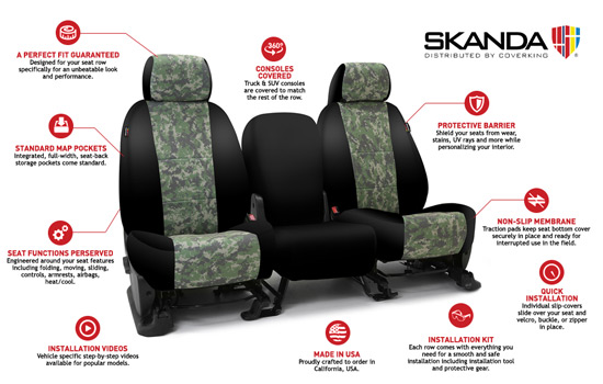 digital camo custom seat covers features