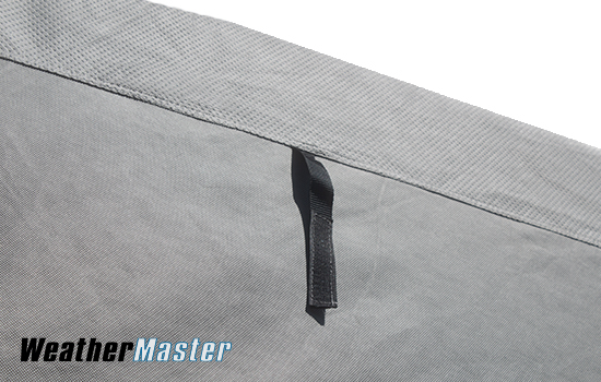 Velcro strap sewn into the seam that can be used to securely store your cover panels when rolled up