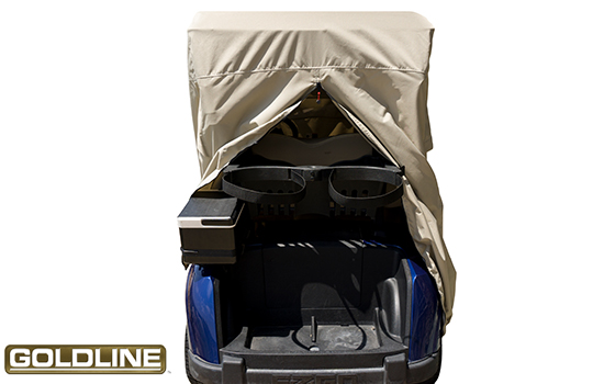 Full height rear zipper for easy installation and access to rear of cart while covered.