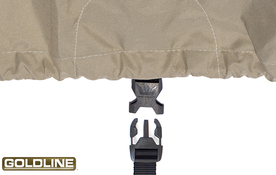 Handy buckle and strap system allows user to put a strap under the cart to hold the cover in place in windy conditions.